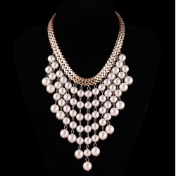 Multilayer Statement Necklace Pearl Cascade