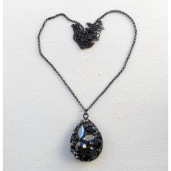 Long Gun Metal Color Necklace with Crystal Waterdrop pendant