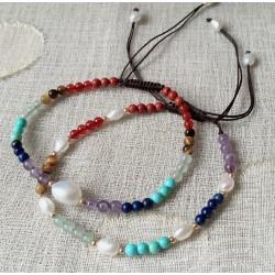 Pulseras artesanales de esferas de piedras naturales de los 7 chakras y perlas