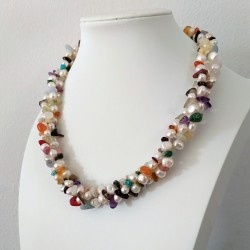 Triple Strand Freshwater Pearl Necklace with Mixed Semiprecious Stones