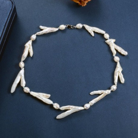 Unique Baroque Keshi Twig Pearl and White Oval Pearl Necklace