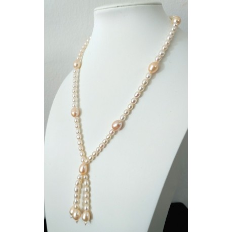 Natural Freshwater Pearl Necklace With Triple Pendant