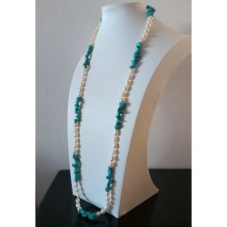 Oval White Cultured Pearls and Blue Turquoise Long Necklace