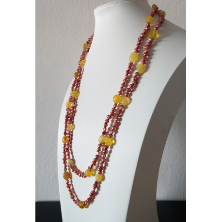 Nugget Red Bordeaux Freshwater Pearl and Yellow Opal Long Necklace