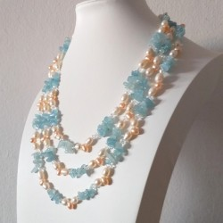 Freshwater Pearls and Aquamarine Long Strand Necklace