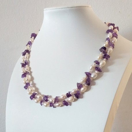 White Rice Pearls and Amethyst Stone Double Layer Necklace