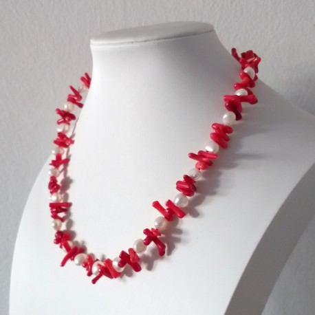 Freshwater White Pearl and Red Stick Coral Necklace