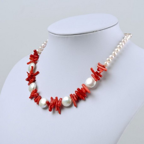 Freshwater Cultured Coin Pearl and Red Coral Beads Necklace