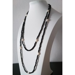 Black Onyx Faceted Sparking Real Freshwater Pearl Necklace