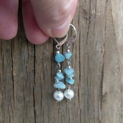 Handmade Drop Earrings with Blue Amazonite and Freshwater Pearl
