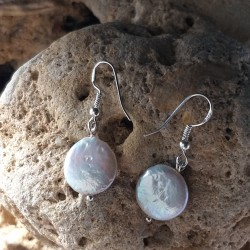 Freshwater White Coin Pearl Drop Earrings