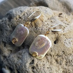 Natural Freshwater Baroque Pearl Dangle Earrings with Gold Metal Wire