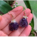 Raw Mineral Wire Wrapped Natural Amethyst and Mini Pearls Earrings