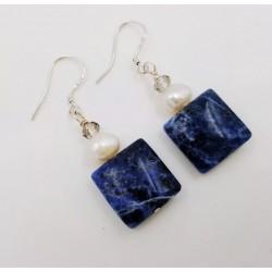 Pendientes artesanales con sodalita y perla