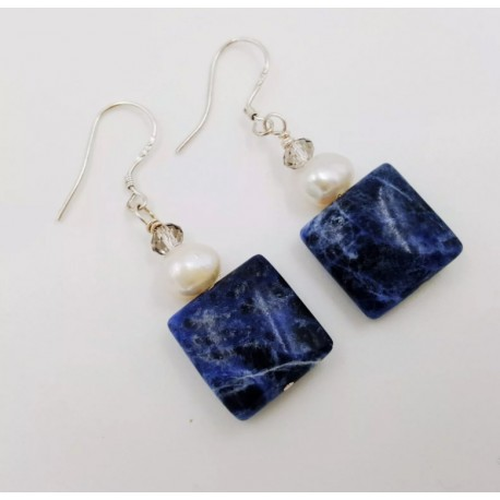 Natural Blue Sodalite and Freshwater Pearl Earrings