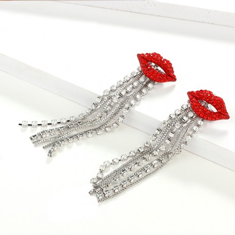 Crystal Long Tassel Red Lips Dangle Earrings