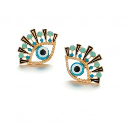 Evil Eye Stud Earrings with Blue Crystals