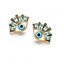 Pendientes de Ojo de Turco de metal dorado y cristales azules