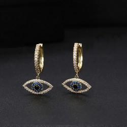 Pendientes con colgante de ojo turco con cristales de circonita cúbica
