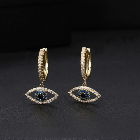 Evil Eye Hoop Earrings with Cubic Zirconia Crystals
