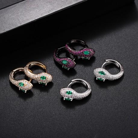 Cubic Zirconia Snake Shape Hoop Earrings