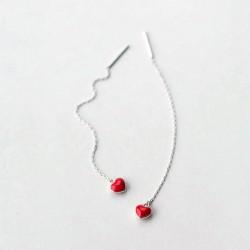 Pendientes de plata 925 estilo minimalista con corazón rojo