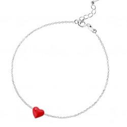 Minimalist Style Red Heart Sterling Silver Bracelet