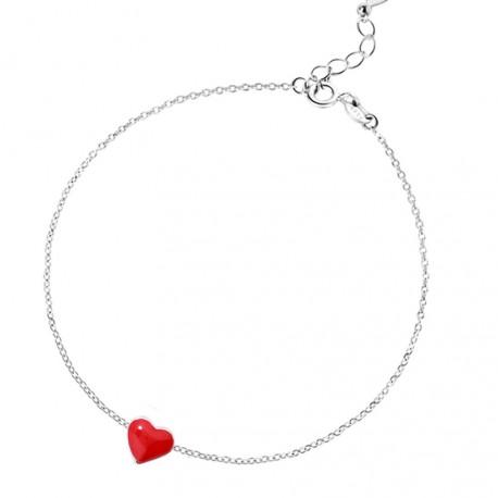 Pulsera estilo minimalista de plata con corazón rojo