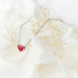 Minimalist Style 925 Sterling Silver Red Heart Necklace