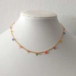 Colorful Rainbow CZ Charm Choker Necklace