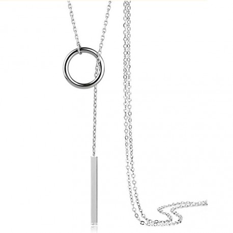 Collar largo fino y elegante de plata 925 estilo minimalista