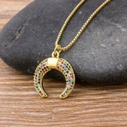 Rainbow Zircon Crystals Moon Pendant Fashion Necklace