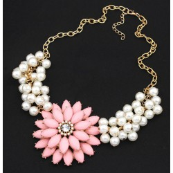Big Resin Flower Rhinestone Simulated Pearl Statement Necklace Santorini