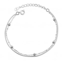 925 Sterling Silver Simple Double Layer Snake Chain Bracelet