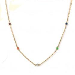 Collar de moda minimalista dorado con cristales Zirconita Cúbica colores Arco Iris
