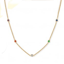 Gold Chain Chokers Necklace witn Cubic Circonis Rainbow Crystals