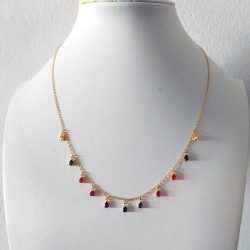 Fine Minimalist Style Gold Chain Necklace with Cubic Zircon Waterdrop Pendants