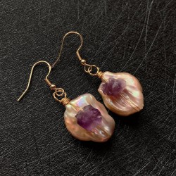 Big Irregular Baroque Pearl Earrings with Raw Amethyst Natural Stone