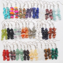 Handmade Natural Stone Chip Beads Earrings
