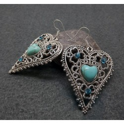 Antique Silver Color Vingage Boho Style Earrings with Turquoise