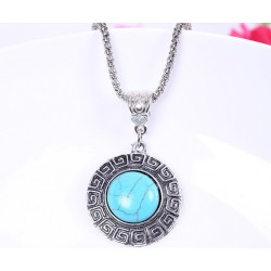 Blue Stone and Tibetan Silver Necklace