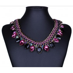 Water Drop Purple Crystal Choker Necklace
