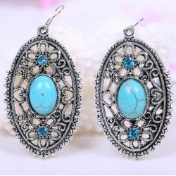 Ethnic vintage jewelry with blue turquoise and Tibet silver