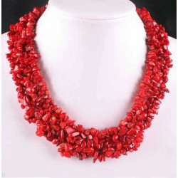 Natural Red Coral Beads Big Necklace