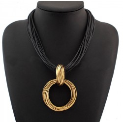 Circle Pendant Black Leather Chain Necklace